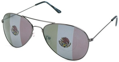 Angle of SW Mexican Flag Aviator Style #807 in Grey, Women's and Men's