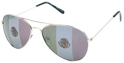 Angle of SW Mexican Flag Aviator Style #807 in Silver, Women's and Men's