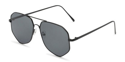 Angle of Bronx #6307 in Matte Black Frame with Grey Lenses, Women's and Men's Aviator Sunglasses