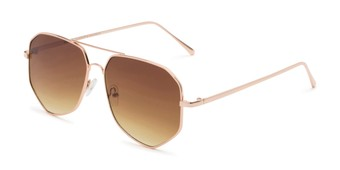 Angle of Bronx #6307 in Gold Frame with Amber Lenses, Women's and Men's Aviator Sunglasses