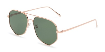 Angle of Bronx #6307 in Gold Frame with Green Lenses, Women's and Men's Aviator Sunglasses