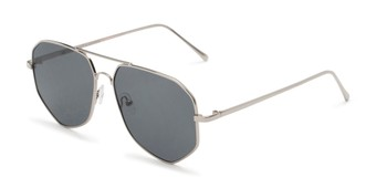 Angle of Bronx #6307 in Silver Frame with Grey Lenses, Women's and Men's Aviator Sunglasses