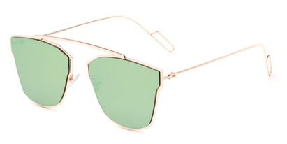 Angle of Octavia #6345 in Gold Frame with Green Mirrored Lenses, Women's Retro Square Sunglasses