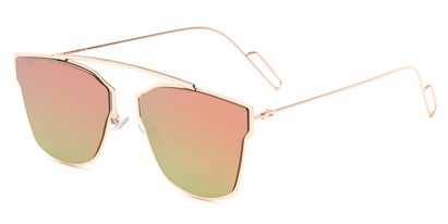 Angle of Octavia #6345 in Gold Frame with Pink/Green Mirrored Lenses, Women's Retro Square Sunglasses
