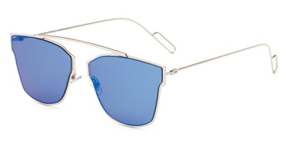Angle of Octavia #6345 in Silver Frame with Blue Mirrored Lenses, Women's Retro Square Sunglasses