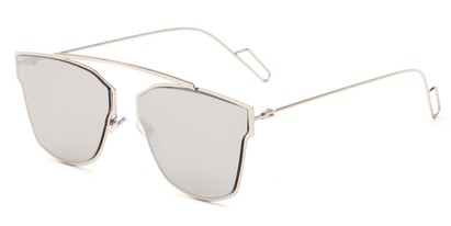 Angle of Octavia #6345 in Silver Frame with Silver Mirrored Lenses, Women's Retro Square Sunglasses