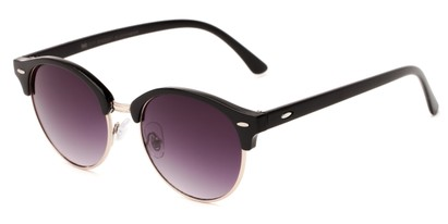 Angle of Cook #6373 in Black/Gold Frame with Smoke Lenses, Women's and Men's Browline Sunglasses