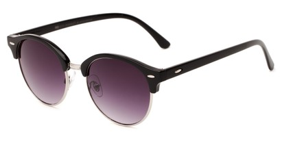 Angle of Cook #6373 in Black/Silver Frame with Smoke Lenses, Women's and Men's Browline Sunglasses