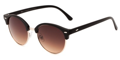 Angle of Cook #6373 in Matte Black/Gold Frame with Amber Lenses, Women's and Men's Browline Sunglasses