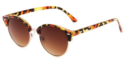 Angle of Cook #6373 in Red Tortoise/Gold Frame with Amber Lenses, Women's and Men's Browline Sunglasses