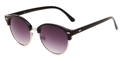 Angle of Cook #6373 in Black/Purple Frame with Smoke Lenses, Women's and Men's Browline Sunglasses