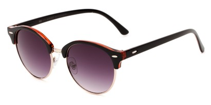 Angle of Cook #6373 in Black/Red Frame with Smoke Lenses, Women's and Men's Browline Sunglasses