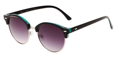 Angle of Cook #6373 in Black/Teal Green Frame with Smoke Lenses, Women's and Men's Browline Sunglasses