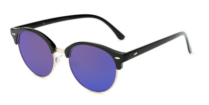 Angle of Jacks #63732 in Glossy Black Frame with Blue Mirrored Lenses, Women's and Men's Browline Sunglasses