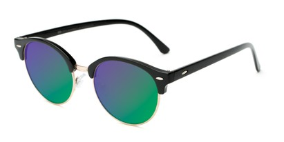 Angle of Jacks #63732 in Glossy Black Frame with Green/Purple Mirrored Lenses, Women's and Men's Browline Sunglasses