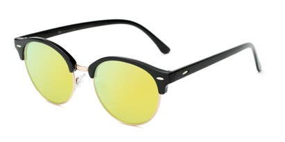 Angle of Jacks #63732 in Glossy Black Frame with Yellow Mirrored Lenses, Women's and Men's Browline Sunglasses