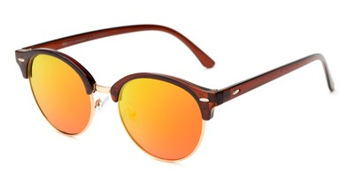 Angle of Jacks #63732 in Glossy Brown Frame with Yellow Mirrored Lenses, Women's and Men's Browline Sunglasses