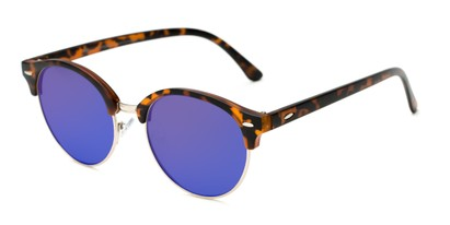 Angle of Jacks #63732 in Matte Tortoise Frame with Blue Mirrored Lenses, Women's and Men's Browline Sunglasses