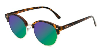 Angle of Jacks #63732 in Matte Tortoise Frame with Green/Purple Mirrored Lenses, Women's and Men's Browline Sunglasses