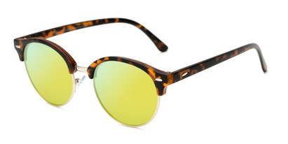 Angle of Jacks #63732 in Matte Tortoise Frame with Yellow Mirrored Lenses, Women's and Men's Browline Sunglasses