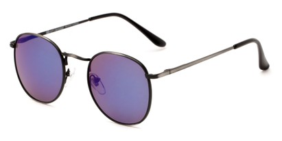 Angle of Tahiti #6390 in Grey Frame with Purple Mirrored Lenses, Women's and Men's Round Sunglasses