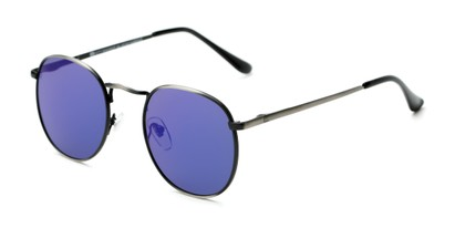Angle of Fuller #63892 in Grey Frame with Blue Mirrored Lenses, Women's and Men's Round Sunglasses