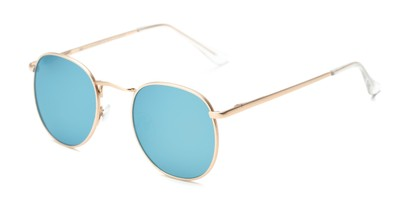 Angle of Fuller #63892 in Gold Frame with Light Blue Mirrored Lenses, Women's and Men's Round Sunglasses
