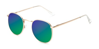 Angle of Fuller #63892 in Gold Frame with Green/Purple Mirrored Lenses, Women's and Men's Round Sunglasses