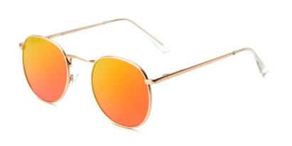 Angle of Fuller #63892 in Gold Frame with Orange/Yellow Mirrored Lenses, Women's and Men's Round Sunglasses