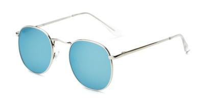Angle of Fuller #63892 in Silver Frame with Light Blue Mirrored Lenses, Women's and Men's Round Sunglasses