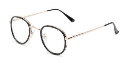 Angle of Lawrence #64399 in Black/Gold Frame with Clear Lenses, Women's and Men's Round Fake Glasses