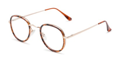 Angle of Lawrence #64399 in Tortoise/Gold Frame with Clear Lenses, Women's and Men's Round Fake Glasses
