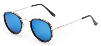 Angle of Astor #6439 in Black/Silver Frame with Blue Mirrored Lenses, Women's and Men's Round Sunglasses