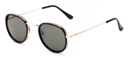 Angle of Astor #6439 in Black/Gold Frame with Green Lenses, Women's and Men's Round Sunglasses