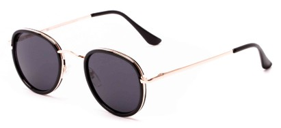 Angle of Astor #6439 in Black/Gold Frame with Grey Lenses, Women's and Men's Round Sunglasses