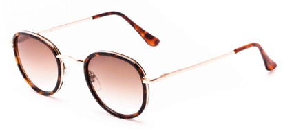 Angle of Astor #6439 in Tortoise/Gold Frame with Amber Lenses, Women's and Men's Round Sunglasses