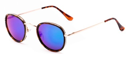 Angle of Astor #6439 in Tortoise/Gold Frame with Blue/Green Lenses, Women's and Men's Round Sunglasses