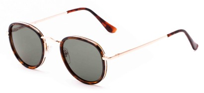 Angle of Astor #6439 in Tortoise/Gold Frame with Green Lenses, Women's and Men's Round Sunglasses
