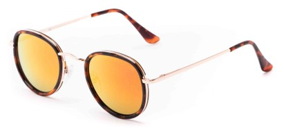 Angle of Astor #6439 in Tortoise/Gold Frame with Orange Mirrored Lenses, Women's and Men's Round Sunglasses