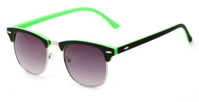 Angle of Barbados #6443 in Black/Green Frame with Smoke Lenses, Women's and Men's Browline Sunglasses