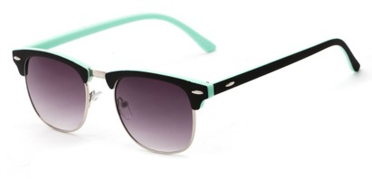 Angle of Barbados #6443 in Black/Mint Frame with Smoke Lenses, Women's and Men's Browline Sunglasses