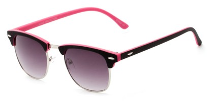 Angle of Barbados #6443 in Black/Pink Frame with Smoke Lenses, Women's and Men's Browline Sunglasses