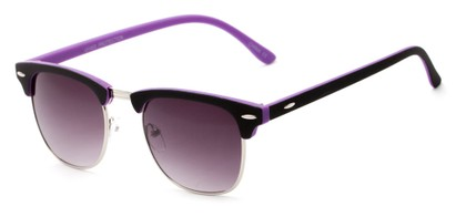 Angle of Barbados #6443 in Black/Purple Frame with Smoke Lenses, Women's and Men's Browline Sunglasses