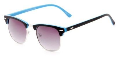 Angle of Barbados #6443 in Black/Blue Frame with Smoke Lenses, Women's and Men's Browline Sunglasses
