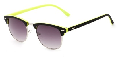 Angle of Barbados #6443 in Black/Yellow Frame with Smoke Lenses, Women's and Men's Browline Sunglasses