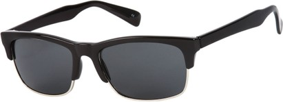 Angle of Highlander #1667 in Black Frame with Smoke Lenses, Women's and Men's Browline Sunglasses