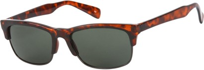 Angle of Highlander #1667 in Tortoise Frame with Green Lenses, Women's and Men's Browline Sunglasses