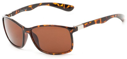 Angle of Richardson #6530 in Glossy Tortoise Frame with Copper Driving Lenses, Women's and Men's Square Sunglasses