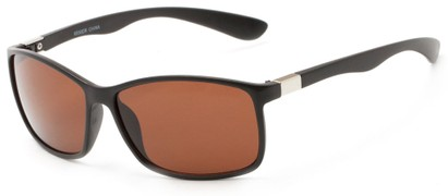 Angle of Richardson #6530 in Matte Black Frame with Copper Driving Lenses, Women's and Men's Square Sunglasses