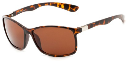 Angle of Richardson #6530 in Matte Tortoise Frame with Copper Driving Lenses, Women's and Men's Square Sunglasses